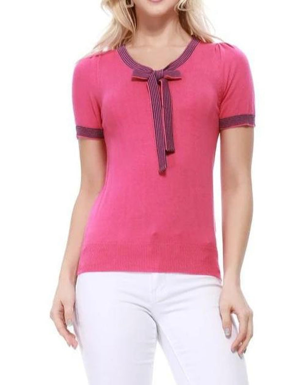 Ray Of Sunshine Bow Tie Top Fuchsia