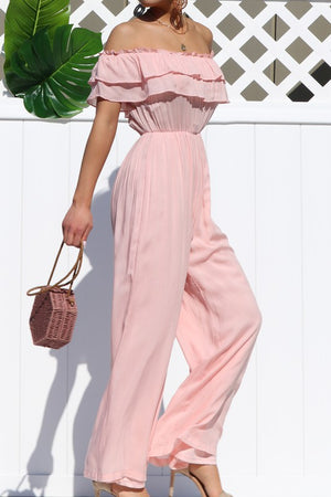 Ruffled Off The Shoulder Jumpsuit Pink