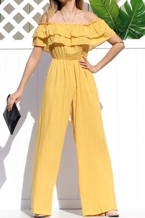 Ruffled Off The Shoulder Jumpsuit Yellow