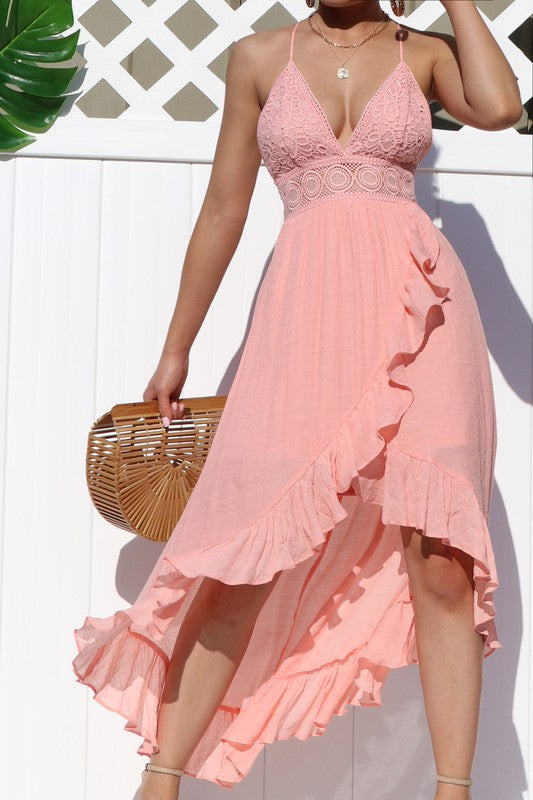 Brooke Ruffle Maxi Dress Pink