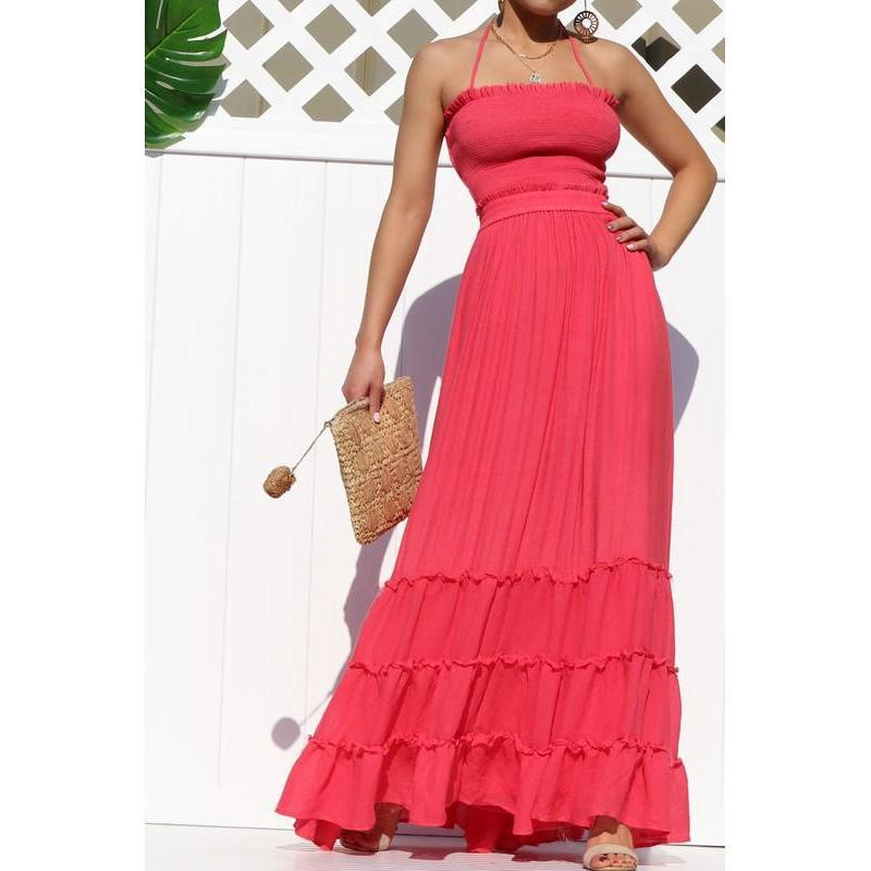Crazy For You Smoked Maxi Dress  Red