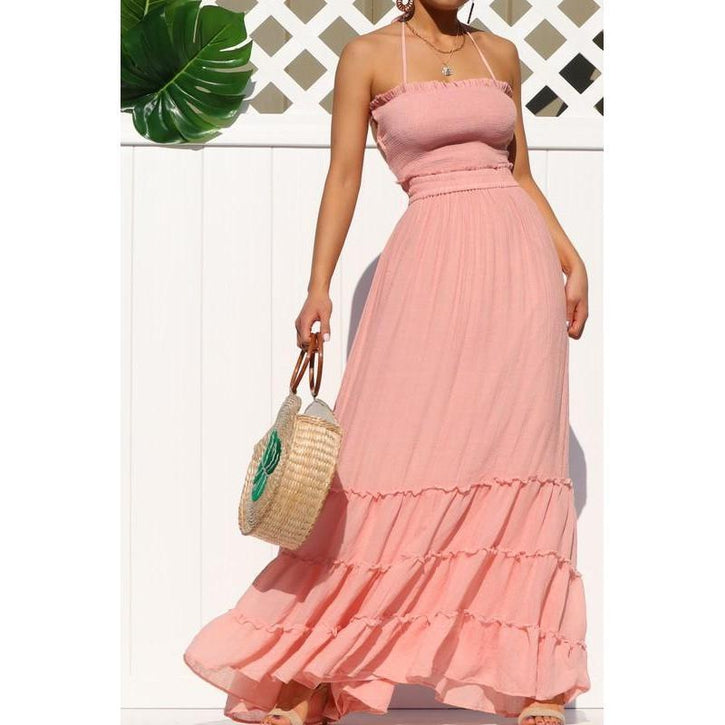 Crazy For You Smoked Maxi Dress Pink