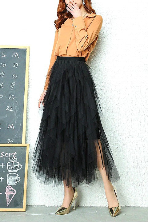 Jasmine Layer Tulle Skirt Black