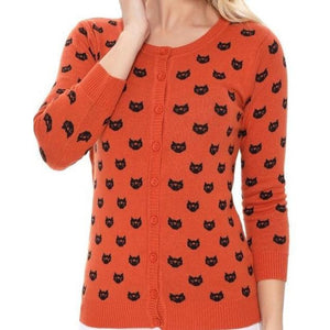 Face The Facts Kitty Face Cardigan Orange