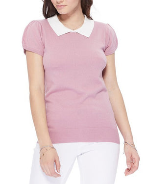 All You Need Classic Collar Top Pink