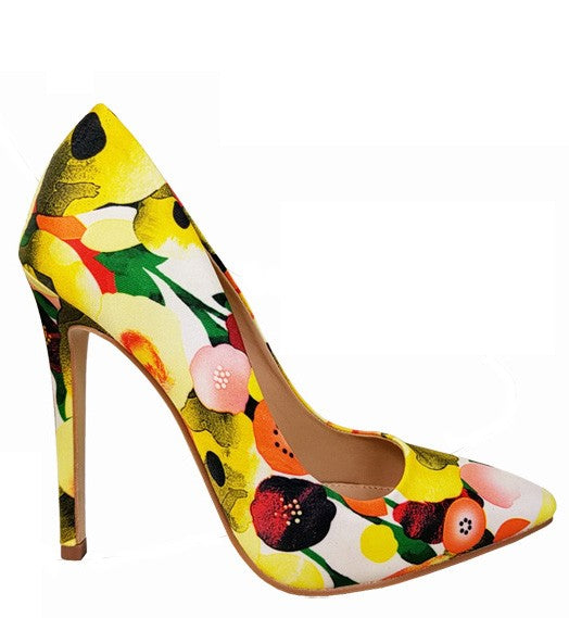 I Dream In Florals Heels Yellow