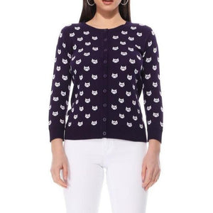Face The Facts Kitty Face Cardigan Black