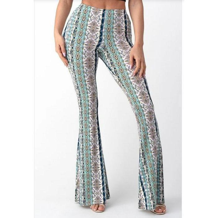 Bell Bottom Paisley Pant Mint