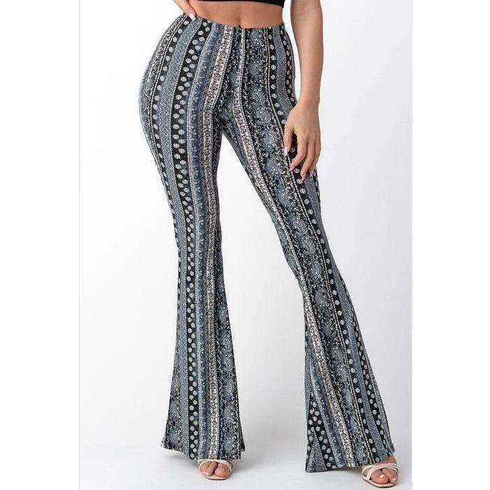 Bell Bottom Paisley Pant Gray