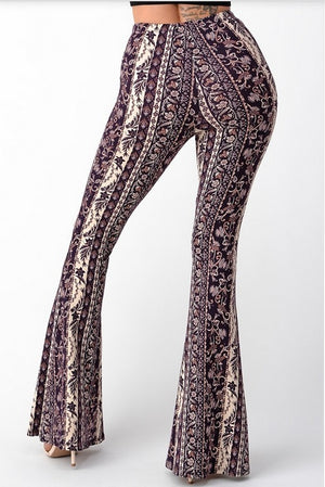 Bell Bottom Paisley Pant Berry & Cream