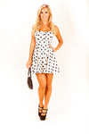 Marilyn White-Black Polka Dot Dress