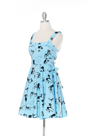 Cats Steal Hearts - Blue Strap Dress