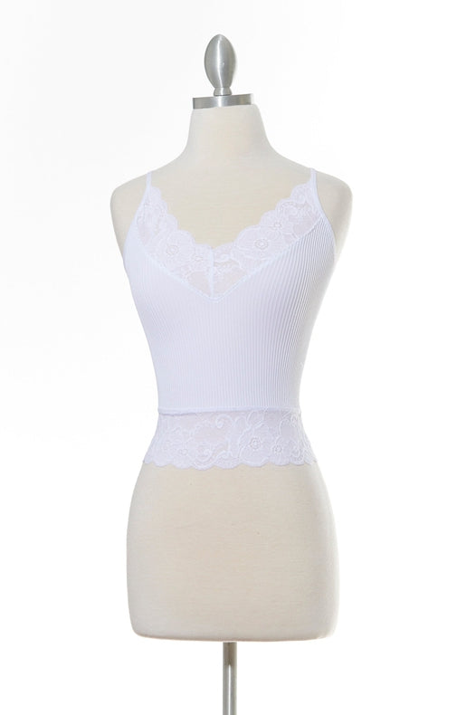 All Day High Lace White Tank Top