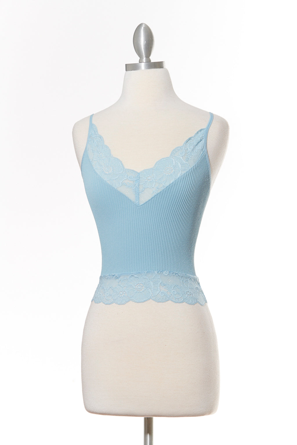 All Day High Lace Blue Tank Top