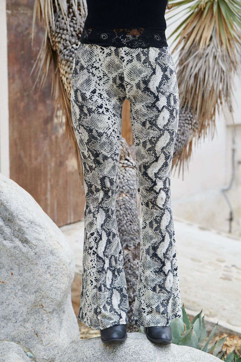 Snake Skin Black Fit & Flare Pants