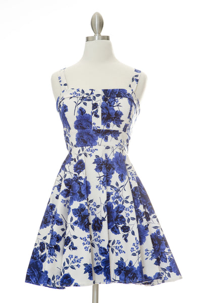 Endless Floral Marilyn Dress - Cobalt