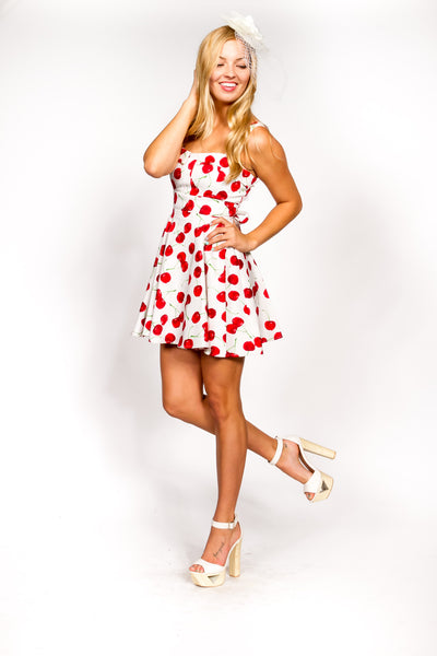 Marilyn White-Red Cherry Dress