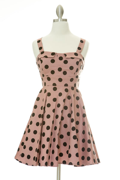 Merry Marilyn Polka Dot Dress - Mauve