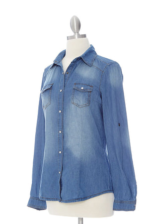 Pearled Chambray Top