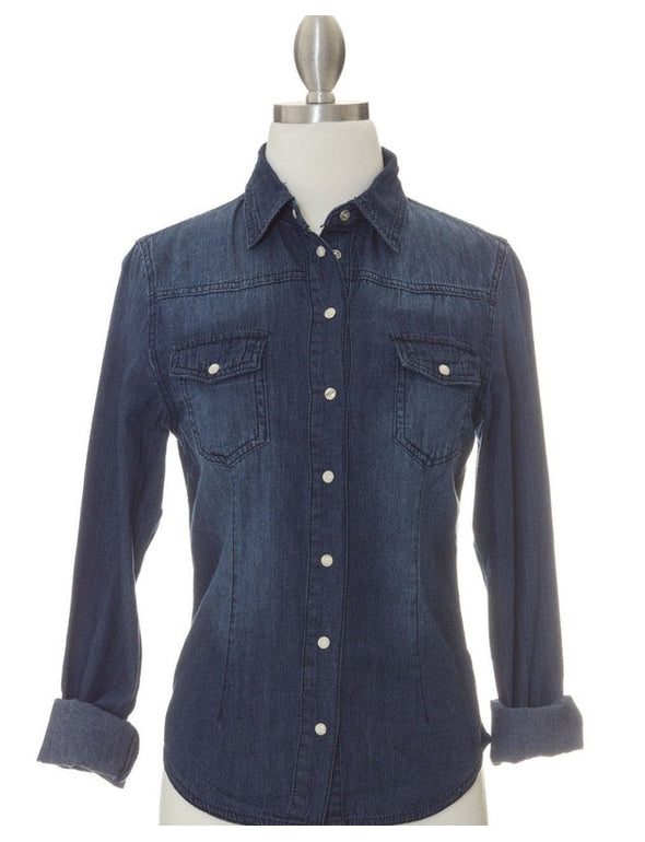 Pearled Denim Top - Dark Denim Wash