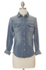 Pearled Denim Top - Medium Wash
