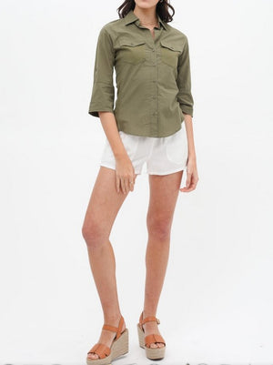 Pintuck Top Olive