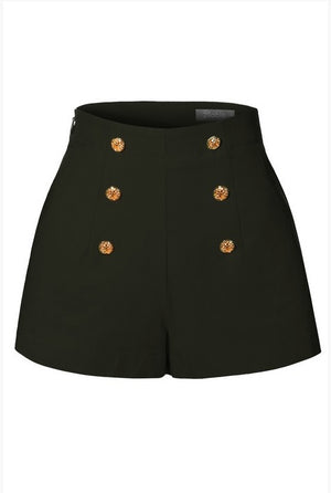 High Waisted Button Short Black