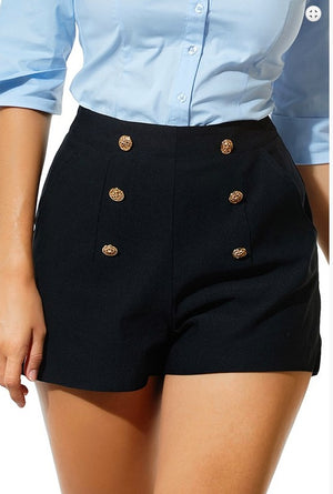 High Waisted Button Short Red