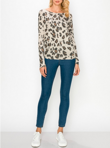 Leopard Over Sized Top Tan