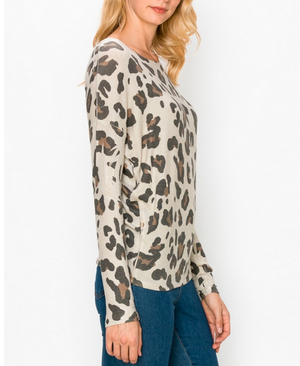 Leopard Over Sized Top White