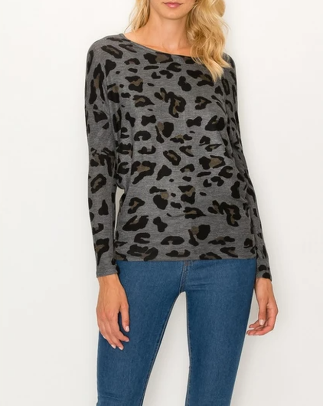 Leopard Over Sized Top Charcoal