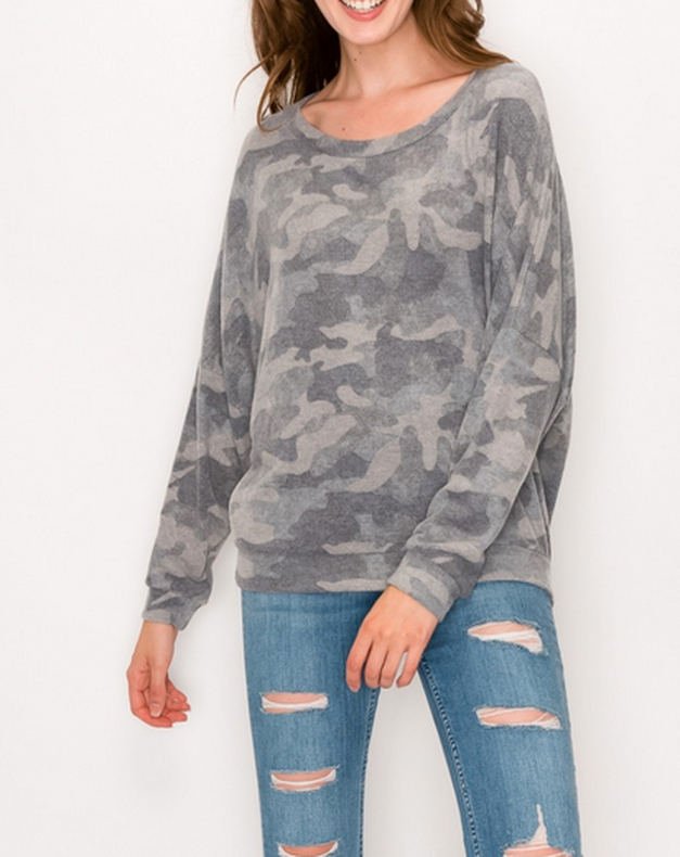 Camouflaged Top Grey