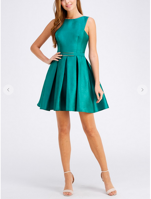 Festive Mood Taffeta Dress Teal