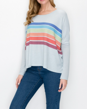 Rainbow Are Forever Stripe Top Cement