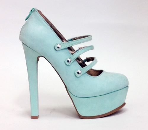 Mary Janes Three Strap Sky Blue
