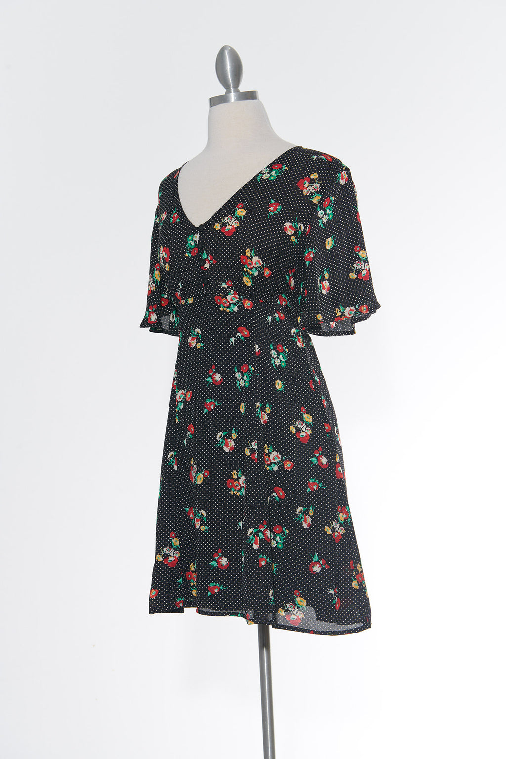 Floral Sweet Heart Black Dress
