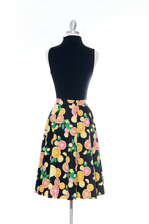 Citrus Delight Black Vintage Skirt