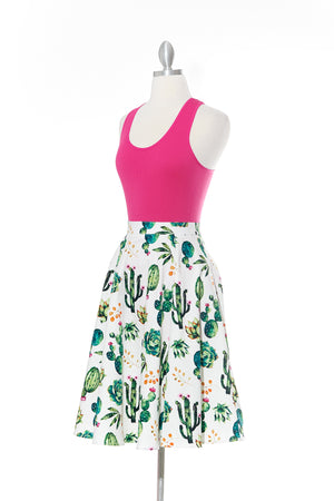 Be Sharp Like a Cactus White Vintage Skirt