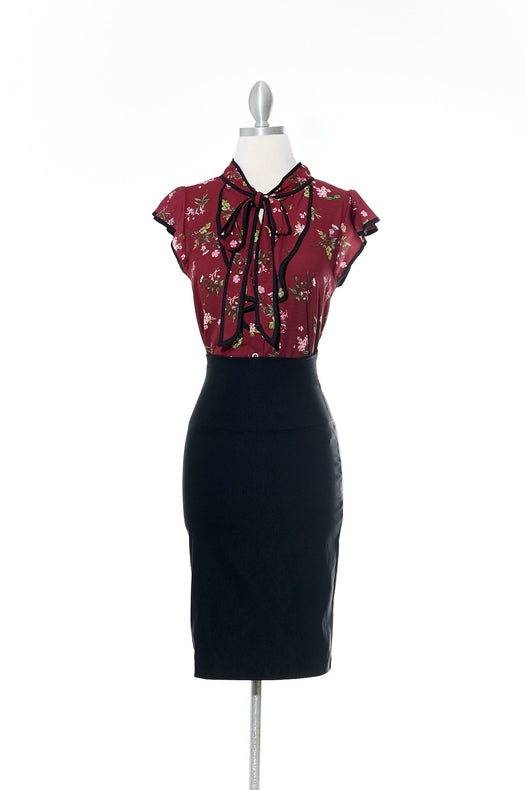 Burgandy Flower Top