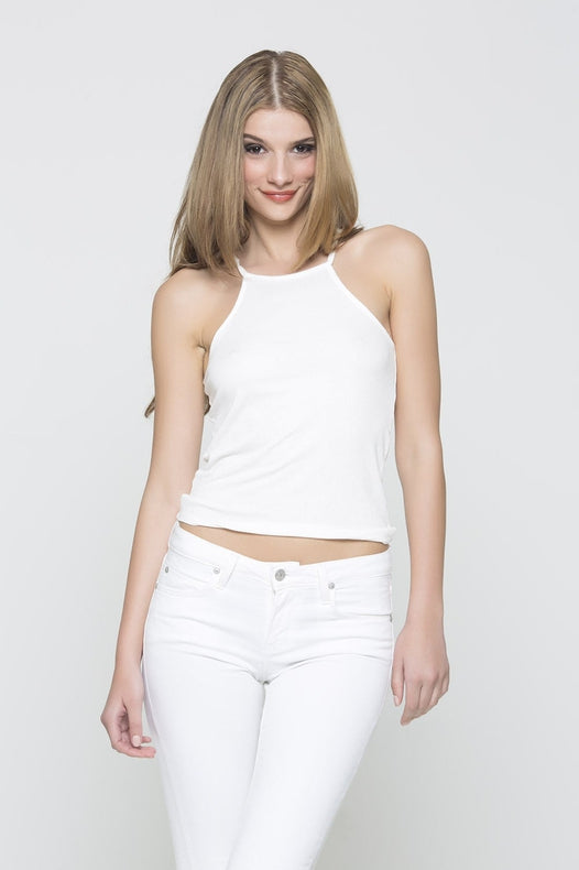 Ribbed Tank - White