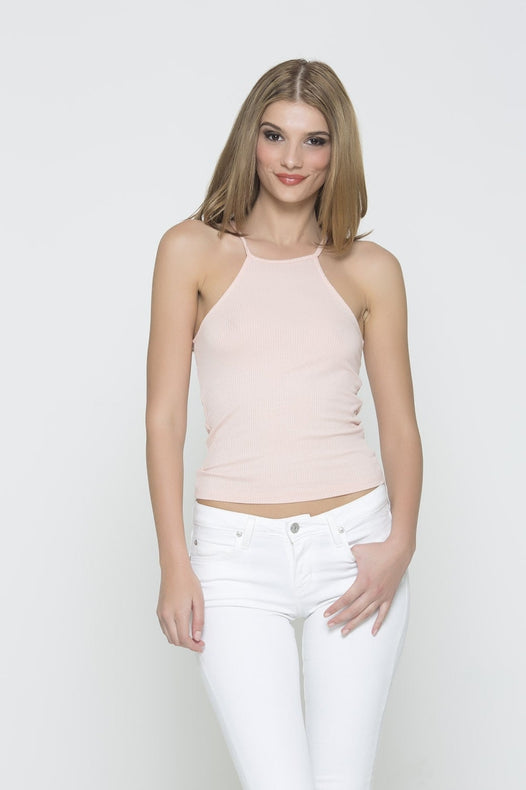 Ribbed Racer Tank - Light Pink