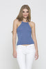 Ribbed Racer Tank - Light Blue