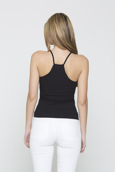 Ribbed Racer Tank - Black