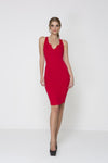 Knot Out V Neck Dress - Red