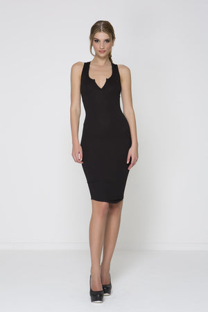 Knot Out V Neck Dress - Black
