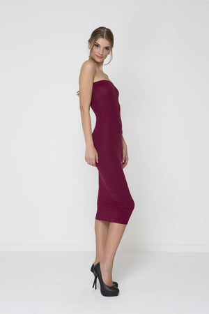 Body Con Knit Dress - Burgandy