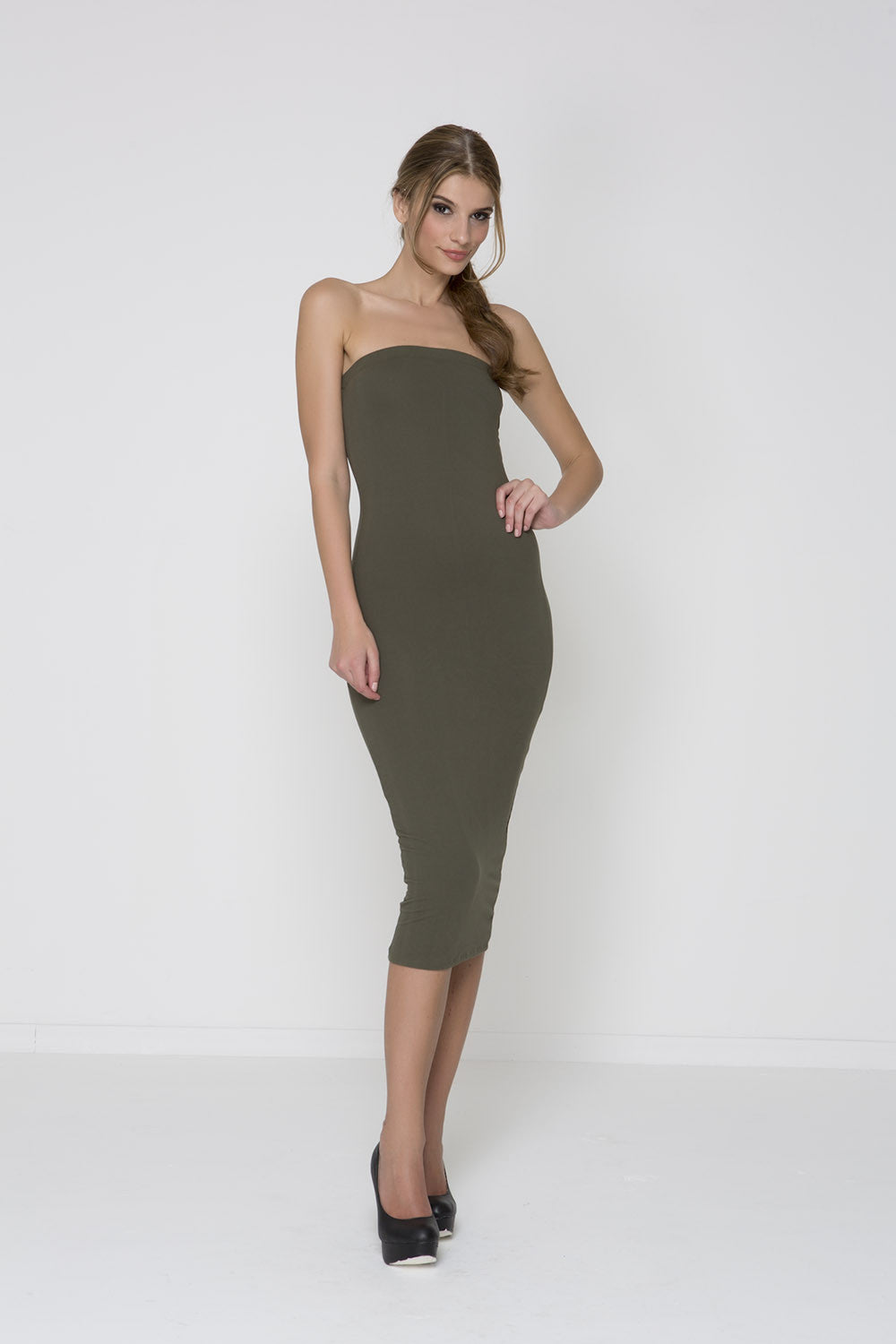 Body Con Knit Dress - Olive