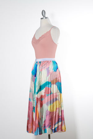 End of the Rainbow Pleated Midi Skirt- Online Exclusive