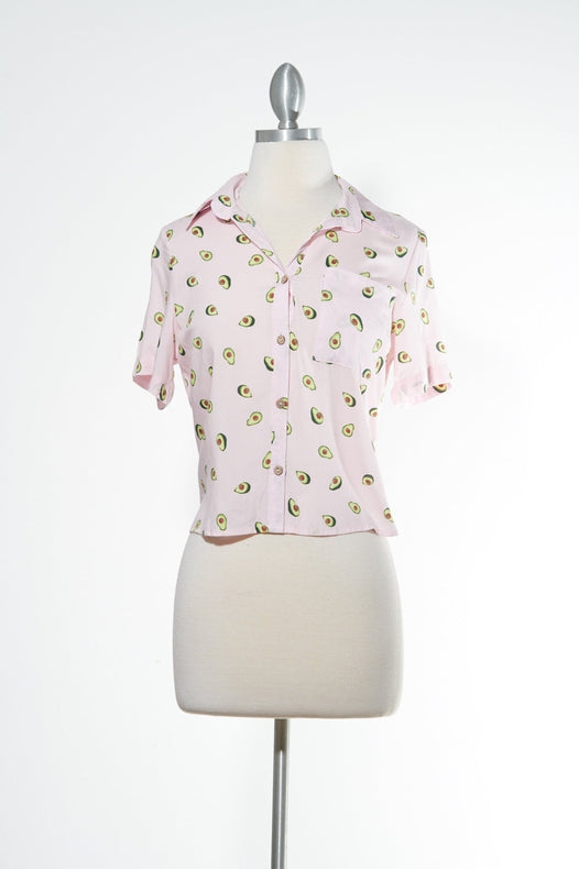 Love Avocado! Button Down Pink Top
