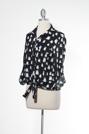 Nerdy Cat Black Button Down Top